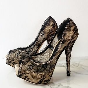Dolce & Gabbana black lace-covered satin pumps